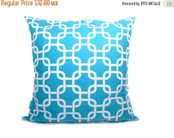 15% Off Sale AQUA PILLOW,Decorative Pillow Cover, Lumbar pillow , White.Blue.Chain.Lattice.Decorative Throw Pillows.Printed Fabric on Both S