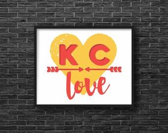Kansas City Love, Gold & Red, Arrows, Print