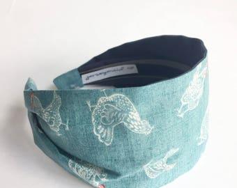 Hen headband turban for women cotton fabric hairband chicken homestead hobby farmer hen lover gift for farmers