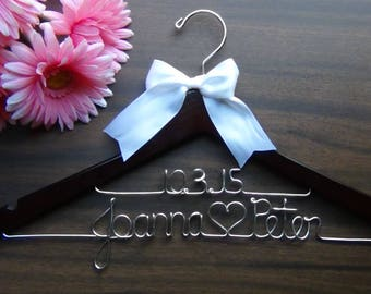 EXPEDITED SHIPPING 2 Line Bridal Hanger with Date, Personalized, Flower Girl Gift idea,Wedding Hangers with Names, Wedding Photo Props