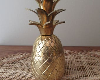 Vintage Brass Pineapple Trinket Box, Eclectic, Unique Home Decor, Tropical Decor