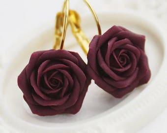 SALE Handmade tyrian purple rose earrings, Dark rose, Gift for women, Gift for her, floral earrings, Noble roses, Dark floral earrings, cute
