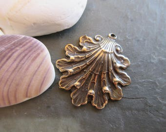 Pure Bronze Shell pendant 24mm x 28mm bronze scallop shell pendant bronze beach charm SHELL11-B