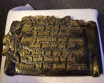 Vintage Chalk Ware Wall Plaque Psalm 23