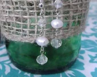 Fresh Water Pearl Dangle Earrings Bridal Bridesmaid Earrings Crystal Earrings