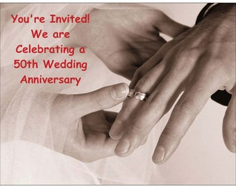 Hands with Wedding Rings Wedding Anniversary Invitations