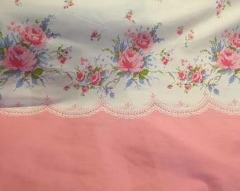 Quilting Cotton, Pink Roses Border Print Fabric, Robin Mynatt for Paris Bebe Fabrics