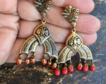 Bohemian Boho Red Damascene Chandelier Earrings Vintage 1940 1950 Toledo Spain Bohemian Gypsy Festival