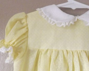 Infant Baby Girls Dresses, Classic Kids Clothes, Bryan Baby Dresses, Vintage Girls Dresses, Yellow, White Peter Pan Collar