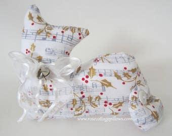 Cat Shelf Sitter, Pillow Tuck, Musical Notes Cat, Chrismtas Cat, Cat Shape Pillow, Kitten Shelf Sitter, Home Decor