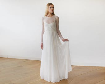 Ivory Chiffon Round Neckline Bridal Dress With Long Sleeves 1102