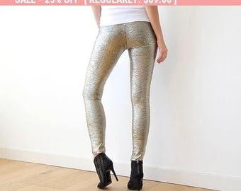 25% OFF! Metallic gold sparkling leggings, Metallic tights 3012