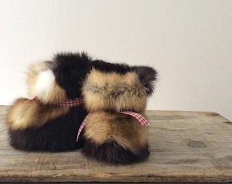 Super soft Rabbit fur baby booties