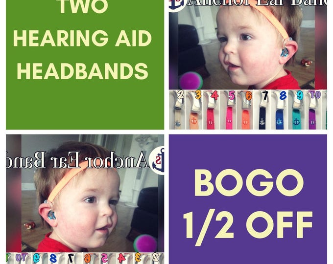 BOGO 1/2 off - Two Hearing Aid Heaband - Adjustable Length - Silicone Sleeves - Non Slip Grip