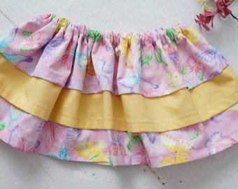Baby Girl Skirt, Pink Yellow Butterfly Ruffle Skirt - Baby Birthday Outfit - Toddler Outfit - Stretchy Skirt, Tiered Skirt, Ruffle Bottom