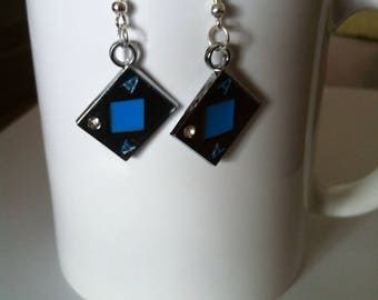 Earrings Poker cards ACE of diamonds blue