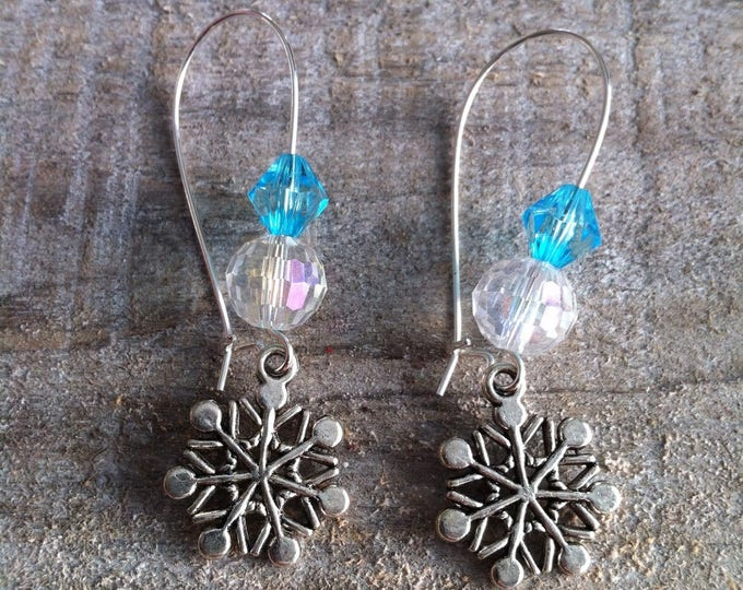Snowflakes earrings big turquoise silver clasps