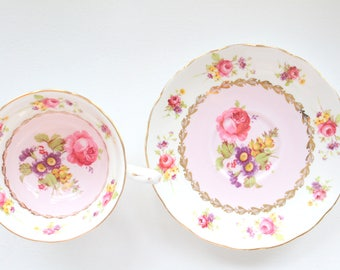 TEA CUP, Vintage English Bone China Tea Cup & Saucer by Grosvenor, Replacement China, Gifts for Her, Little Princess Birthday Tea Party