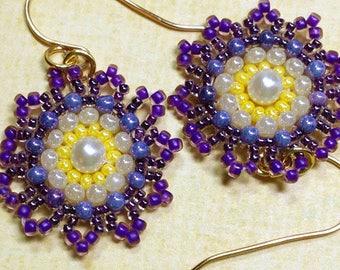Floral Bead Earrings Flower Bead Earrings Seed Bead Earrings Beadwork Earrings Floral Earrings Beadwork Earrings Purple Bead Earrings