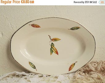 Sale 70 % Off Vintage SERVING TRAY, Autumn Leaves, Oval shaped Ceramic Plate, Stamped Digoin et Sarreguemines, France, pattern Nemours 17.