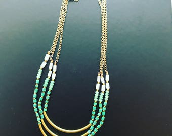 Green and Gold Layered Bar Necklace