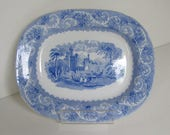 c.1840, Blue and White, Transferware, Small Serving Platter, Wonderful Condition, Marked W.A.& Co., Another Mark