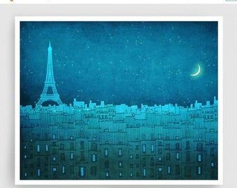 30% OFF SALE: Paris illustration - The Eiffel tower in PARIS (landscape) - Art Illustration Print Poster Paris decor Wall art Architecture B