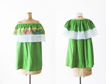 Mexican Blouse / Embroidered Mexican Shirt / Off The Shoulder Blouse / Boho Blouse / Green Mexican Top / Hippie Shirt