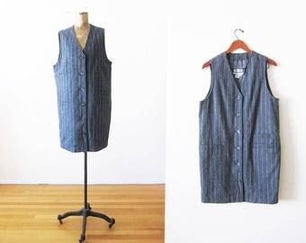 vintage 90s dress - pinafore dress - button front dress - pinstripe dress - minimalist clothing - jumper dress - gray wool dress large