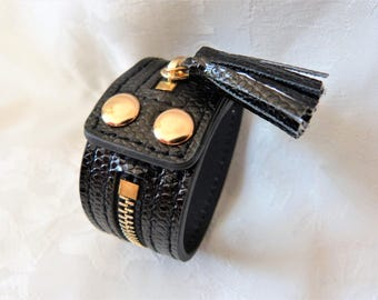 Gold leather and metal Cuff Bracelet