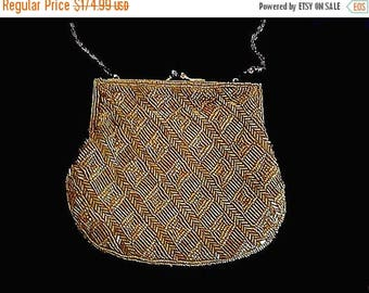 SALE Vintage La Regale Gold Chevron Beaded Shot Hand Made Purse