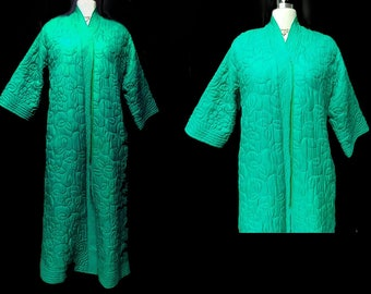 Vintage 50s 60s Macys Marchioness Metal Zip Up Silk Rayon Quilted Dressing Gown Made in Hong Kong vintage Robe metal zipper robe green robe