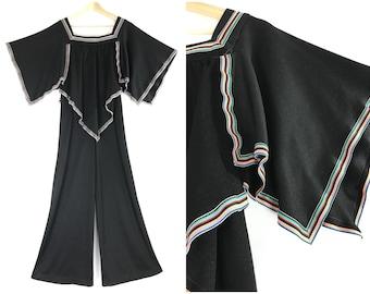 1970s palazzo  jumpsuit / vintage rainbow jumpsuit / retro wide leg jumper / 70s black romper / 70s disco one piece