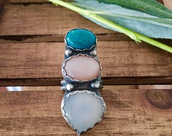 Into the Mystic ~ Chrysocolla and Selenite Ring