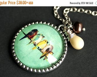 BACK to SCHOOL SALE Birds on a Wire Necklace. Silver Tree Pendant. Bird Necklace with Beige Teardrop and Brown Fresh Water Pearl. Aqua Green