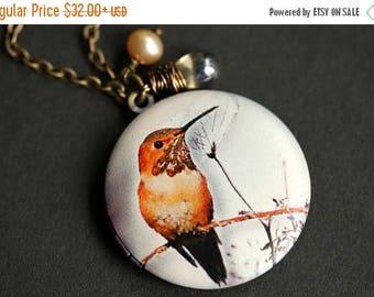 VALENTINE SALE Autumn Hummingbird Locket Necklace. Orange Hummingbird Necklace with Taupe Teardrop and Fresh Water Pearl. Bird Necklace. Bro
