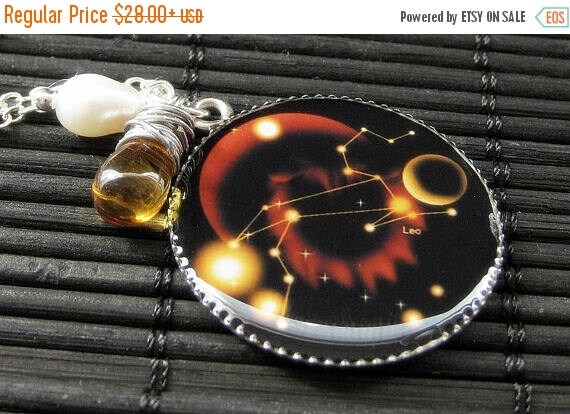 SUMMER SALE Leo Necklace. Sun Sign Zodiac Jewelry with Amber Teardrop Pendant and Fresh Water Pearl. Handmade Jewelry.