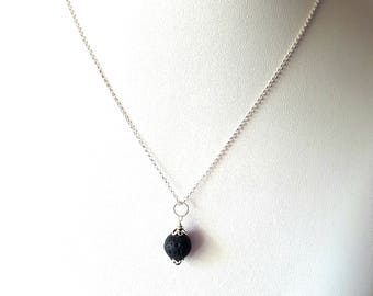 Truth Essential Oil Diffuser Pendant Necklace-Aromatherapy Jewelry-Sterling Silver-Black Lava Rock-Minimalist