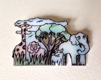 African Animals Pin