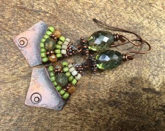 Rustic Jewelry 'Alegria , Alegria' Series earrings n351- 70's inspired .  boho jewelry . statement earrings . folk festive . artisan jewelry
