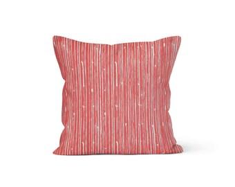 Coral Stripes Pillow Cover - Scribble Coral - Lumbar 12 14 16 18 20 22 24 26 Euro - Hidden Zipper Closure