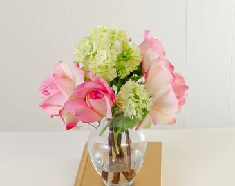 Real Touch Pink Roses and Finest Silk Snow Ball Hydrangeas Arrangement Artificial Faux in Round Glass Vase for Home Decor