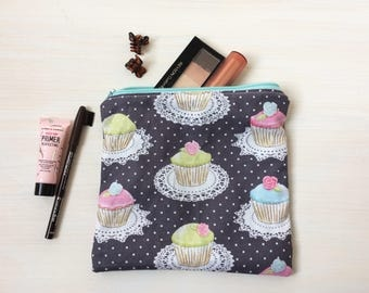 Cupcakes Mini Makeup Bag - Medium Accessories Pouch, Cosmetics Sleeve, Cute Gift, Vintage Modern Fabric, Dessert, Doilies, Ready to Ship