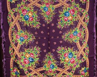 Russian shawl, dark purple, scarf. Floral black chale russe, Chic Mantón hustka. Babushka scarf, Fringed Shawls flower scarves, gift for her