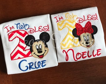 I'm TWOdles Minnie & Mickey mouse birthday shirt, Mickey mouse, Mickey mouse clubhouse, toodles, kids tees, birthday (made to order)