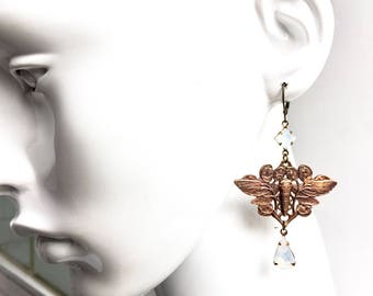 Stunning Art Nouveau Moth Earrings with Rare 1910 French Brass Stampings and White Opal Glass Beads