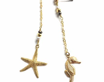 Lovely Long Mismatching Sealife Drop Earrings with Brass Starfish and Seahorse Charms Pearl and Pyrite Beads