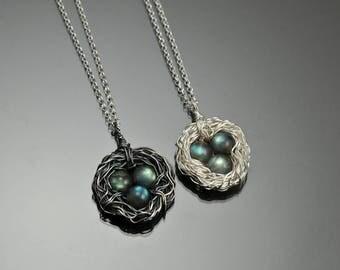 Labradorite bird nest pendants, sterling silver
