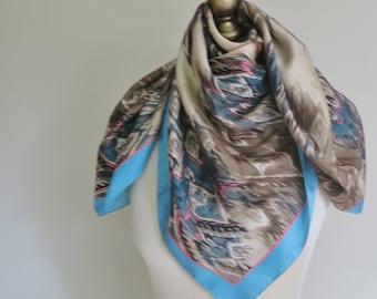 NICOLE MILLER scarf, silk scarf, square scarf silk, designer scarves, carre,  ladies headscarf, American silk scarf, silk hair wrap