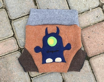 Cloth Diaper Cover, Wool Soaker, Shorties, Cloth Nappy Cover -  - Brown with a Monster Applique - size Medium